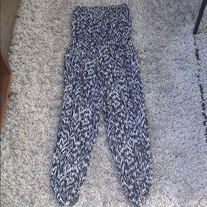 AQUA blue & white print strapless jumpsuit